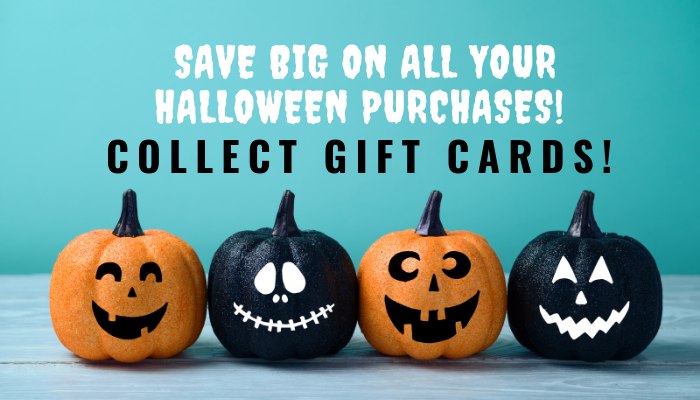 Collect These 5 Gift Cards To Save Big On All Your Halloween Purchases!